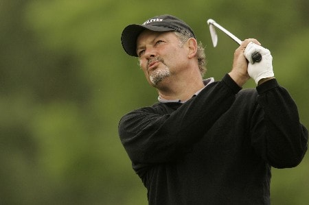 Gordon Brand Jr. watches his tee shot during the final round of the 2005 Celtic Manor Wales Open at Celtic Manor's Roman Road course. June 5, 2005Photo by Pete Fontaine/WireImage.com