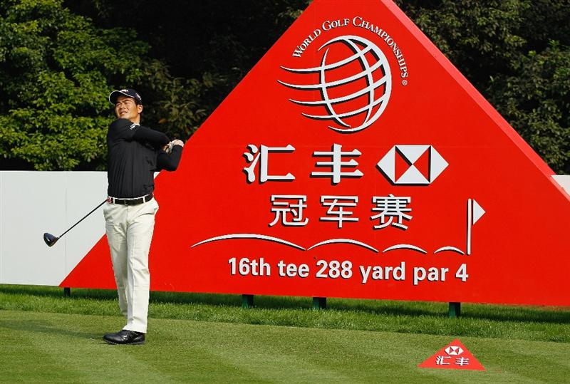 SHANGHAI, CHINA - NOVEMBER 03:  Liang Wen-Chong of China plays a shot during the pro-am prior to the start of the HSBC Champions at the Sheshan Golf Club on November 3, 2010 in Shanghai, China.  (Photo by Scott Halleran/Getty Images)