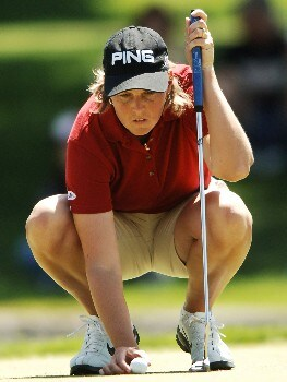 Wendy Ward lines up a putt on the ninth green which she made for birdie during the final round of the 2005 LPGA Takefuji Classic at the Las Vegas Country Club in Las Vegas, Nevada, April 16, 2005.Photo by Steve Grayson/WireImage.com