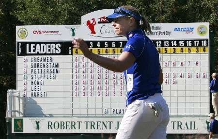 MOBILE, AL - NOVEMBER 9:  Annika Sorenstam of Sweden waves after completing her second round play in The Mitchell Company LPGA Tournament of Champions at Magnolia Grove Golf Course on November 9, 2007 in Mobile, Alabama.  (Photo by Dave Martin/Getty Images)