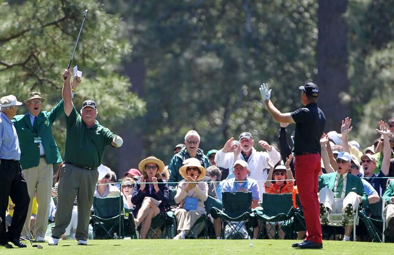 AUGUSTA, GA - APRIL 06:  Craig Stadler celebrates after a hole-in-one on the first hole during the Par 3 Contest prior to the 2011 Masters Tournament at Augusta National Golf Club on April 6, 2011 in Augusta, Georgia.  (Photo by Jamie Squire/Getty Images)