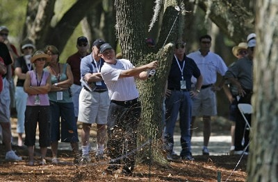 Chad Campbell hits out of the woods in the 15th fairway during the first round of the 2006 Verizon Herizon Heritage Classic Thursday, April 13, 2006, at Harbour Town Golf Links in Hilton Head Island, South Carolina.Photo by Kevin C.  Cox/WireImage.com