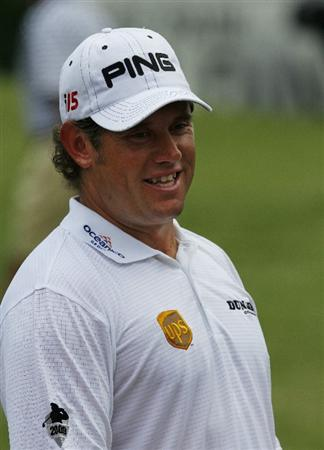 MEMPHIS, TN - JUNE 13: Lee Westwood of England is all smiles before teeing off for his final round of the St. Jude Classic at TPC Southwind held on June 13, 2010 in Memphis, Tennessee.  (Photo by John Sommers II/Getty Images)