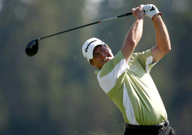 SUNRIVER, OR - AUGUST 20:  Fred Funk tees off on the 4th hole during the first round of the Jeld-Wen Tradition on August 20, 2009 at Crosswater Club at Sunriver Resort in Sunriver, Oregon.  (Photo by Jonathan Ferrey/Getty Images)