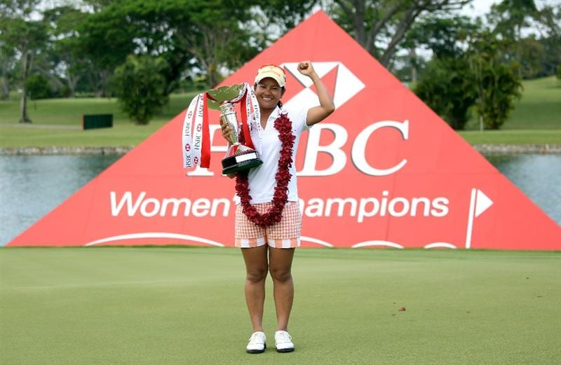 SINGAPORE - FEBRUARY 28:  Ai Miyazato of Japan poses with the trophy after winning the HSBC Women's Champions at the Tanah Merah Country Club on February 28, 2010 in Singapore.  (Photo by Andrew Redington/Getty Images)