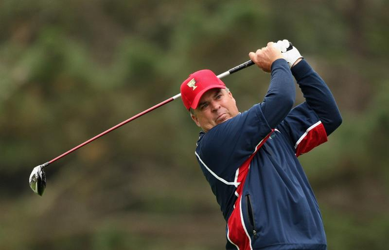 SAN FRANCISCO - OCTOBER 11:  Kenny Perry of the USA Team tees off on the 12th hole during the Day Four Singles Matches of The Presidents Cup at Harding Park Golf Course on October 11, 2009 in San Francisco, California.  (Photo by Warren Little/Getty Images)