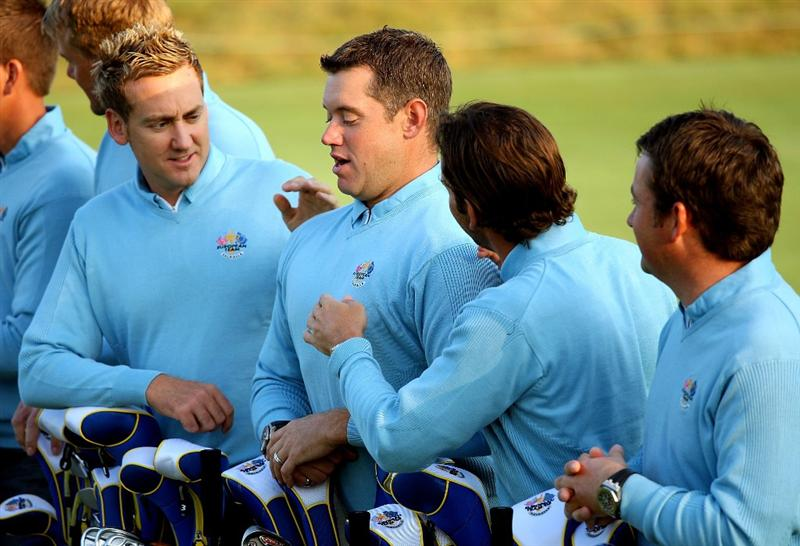 LOUISVILLE, KY - SEPTEMBER 16:  (L-R) Ian Poulter, Lee Westwood, Sergio Garcia and Graeme McDowell of the European team prepare to pose for the official team photograph prior to the start of the 2008 Ryder Cup at Valhalla Golf Club of September 16, 2008 in Louisville, Kentucky.  (Photo by Andrew Redington/Getty Images)