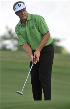 MEMPHIS, TN - JUNE 06: Stuart Appleby lines up a birdie putt on the par three 8th hole during the second round of the Standford St. Jude Championship at the TPC Southwind on June 6, 2008 in Memphis, Tennessee (Photo by Marc Feldman/Getty Images)