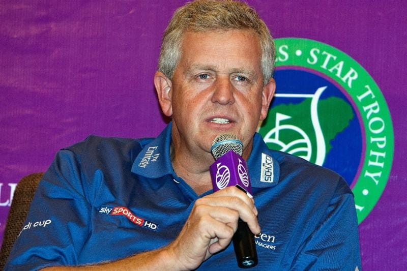 HAIKOU, CHINA - OCTOBER 29: Golfer Colin Montgomerie of Scotland attends a press conference during the Mission Hills Star Trophy tournament at Mission Hills Resort on October 29, 2010 in Haikou, China. The Mission Hills Star Trophy is Asia's leading leisure liflestyle event which features Hollywood celebrities and international golf stars.  (Photo by Athit Perawongmetha/Getty Images for Mission Hills)