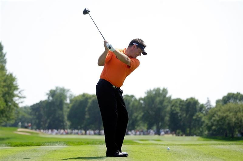 CHASKA, MN - AUGUST 14:  Lee Westwood of England hits his tee shot on the third hole during the second round of the 91st PGA Championship at Hazeltine National Golf Club on August 14, 2009 in Chaska, Minnesota.  (Photo by Jamie Squire/Getty Images)