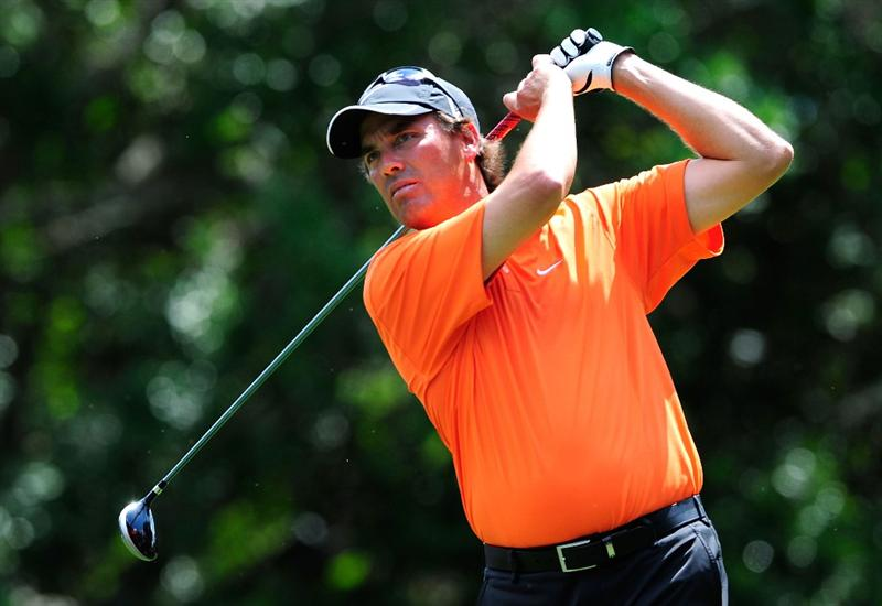 PALM HARBOR, FL - MARCH 19:  Stephen Ames of Canada hits a shot on the 9th hole during the first round of the Transitions Championship at the Innisbrook Resort and Golf Club on March 19, 2009 in Palm Harbor, Florida.  (Photo by Sam Greenwood/Getty Images)