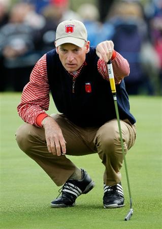 NEWPORT, WALES - SEPTEMBER 30:  Jim Furyk of the USA lines up a putt during a practice round prior to the 2010 Ryder Cup at the Celtic Manor Resort on September 30, 2010 in Newport, Wales.  (Photo by Sam Greenwood/Getty Images)