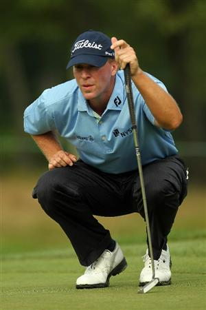 NORTON, MA - SEPTEMBER 03:  Steve Stricker looks on during the 13th hole in the first round of the Deutsche Bank Championship at TPC Boston on September 3, 2010 in Norton, Massachusetts.  (Photo by Mike Ehrmann/Getty Images)