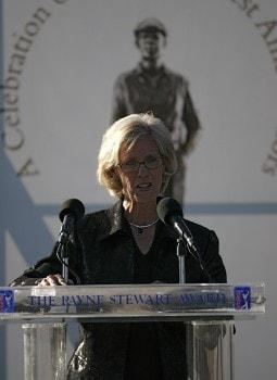 Judy Rankin speaks during the Payne Stewart Award ceremony at East Lake Golf Club in Atlanta, Georgia on November 2, 2005.Photo by Sam Greenwood/WireImage.com