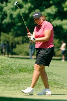Meg Mallon putts for a birdie on the 17th green during the final round of the Jamie Farr Owens Corning Classic July 10, 2005.Photo by Al Messerschmidt/WireImage.com