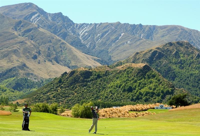 QUEENSTOWN, NEW ZEALAND - JANUARY 29:  David Smail of New Zealand plays an approach shot on the 13th hole during day two of the New Zealand Open at The Hills Golf Club on January 29, 2010 in Queenstown, New Zealand.  (Photo by Phil Walter/Getty Images)