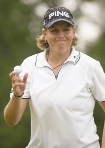 Wendy Ward acknowledges the crowd on the ninth hole during the second round of the Wegmans LPGA at Locust Hill Country Club in Rochester, New York on Friday, June 23, 2006.Photo by Kevin Rivoli/WireImage.com