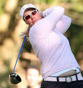 SHIMA, JAPAN - NOVEMBER 03:  Maria Hjorth of Sweden watches her tee shot on the 17th hole during the second round of the LPGA Mizuno Classic at Kintetsu Kashikojima Country Club, on November 3, 2007, in Shima, Japan. Mizuno Classic is the only LPGA tour tournament taken place in Japan.  (Photo by Koichi Kamoshida/Getty Images)