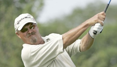 Gary McCord hits a tee shot during the first round of the 2005 Commerce Bank Championship at Eisenhower Park in East Meadow, New York on July 1, 2005.Photo by Michael Cohen/WireImage.com