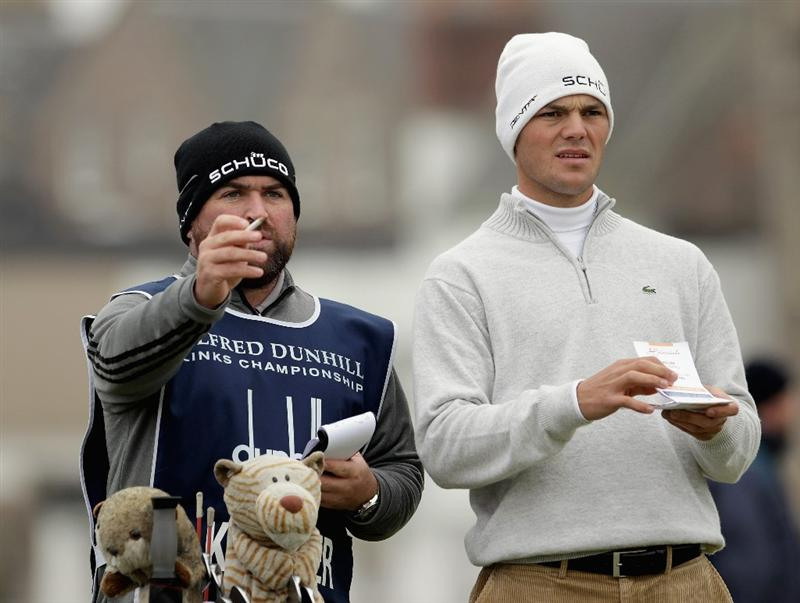 ST ANDREWS, SCOTLAND - OCTOBER 10:  Martin Kaymer of Germany with his caddie on the second tee during the final round of The Alfred Dunhill Links Championship at The Old Course on October 10, 2010 in St Andrews, Scotland.  (Photo by Andrew Redington/Getty Images).