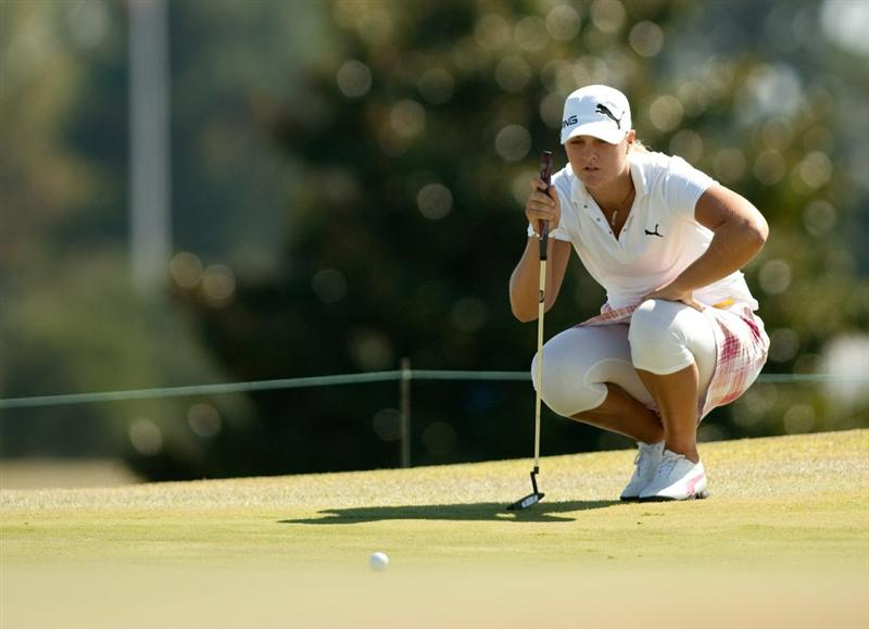 PRATTVILLE, AL - OCTOBER 7: Anna Nordqvist of Sweden lines up a putt during the first round of the Navistar LPGA Classic at the Senator Course at the Robert Trent Jones Golf Trail at Capitol Hill on October 7, 2010 in Prattville, Alabama. (Photo by Darren Carroll/Getty Images)