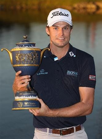 DORAL, FL - MARCH 13:  Nick Watney poses with the Gene Sarazen trophy after his two-stroke victory at the 2011 WGC- Cadillac Championship at the TPC Blue Monster at the Doral Golf Resort and Spa on March 13, 2011 in Doral, Florida.  (Photo by Sam Greenwood/Getty Images)