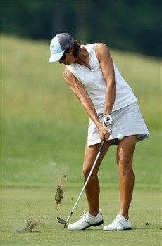 HAVRE DE GRACE, MD - JUNE 08: Laura Diaz of the U.S. plays her third shot at the 11th hole during the final round of the 2008 McDonald's LPGA Championship held at Bulle Rock Golf Course, on June 8, 2008 in Havre de Grace, Maryland. (Photo by David Cannon/Getty Images)