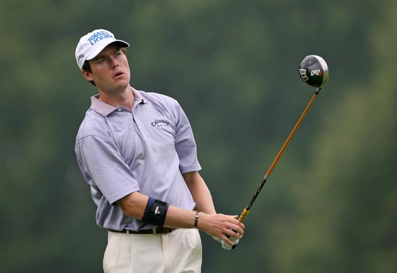 COLUMBUS, OH - JULY 30 : Kyle Reifers hits his tee shot on the 12th hole during the first round of the Nationwide Children's Hospital Invitational at The Ohio State Golf Club on July 30, 2009 in Columbus, Ohio. (Photo by Hunter Martin/Getty Images)