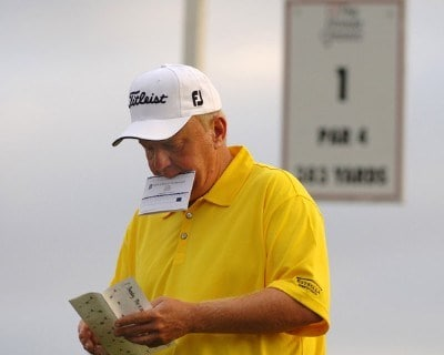 Billy Mayfair checks yardage on the first tee  during the first round of the 2006 Honda Classic March 9  at the Country Club at Mirasol in Palm Beach Gardens, Florida.Photo by Al Messerschmidt/WireImage.com