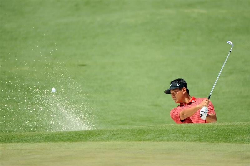 AUGUSTA, GA - APRIL 09:  K.J. Choi of South Korea plays a bunker shot on the second hole during the first round of the 2009 Masters Tournament at Augusta National Golf Club on April 9, 2009 in Augusta, Georgia.  (Photo by Harry How/Getty Images)