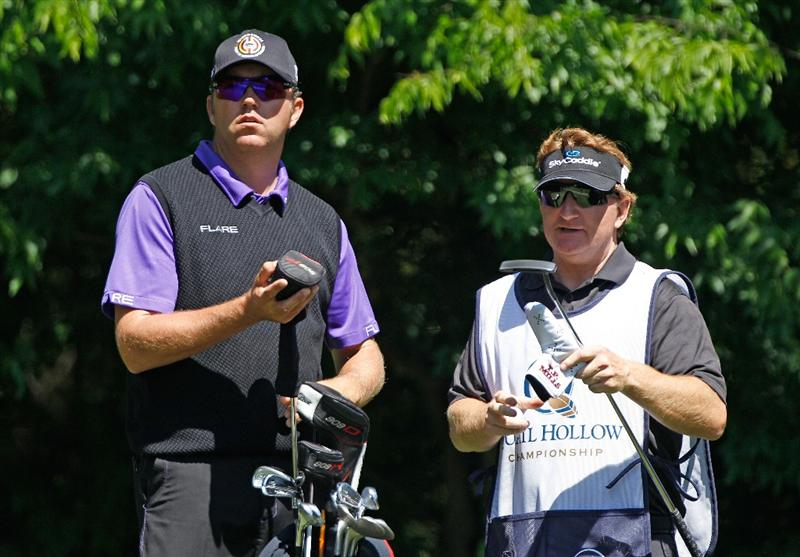 CHARLOTTE, NC - APRIL 29:  Bo Van Pelt waits alongside his caddie Mark Chaney on the fifth tee during the first round of the 2010 Quail Hollow Championship at the Quail Hollow Club on April 29, 2010 in Charlotte, North Carolina.  (Photo by Scott Halleran/Getty Images)
