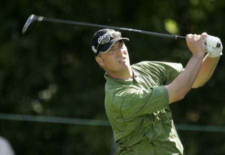 Brett Wetterich tees off on the 6th hole during the 2nd round of the  2005 US Bank Championship at Brown Deer Park in Milwaukee, Wisconsin on July 22, 2005.Photo by Mike Ehrmann/WireImage.com