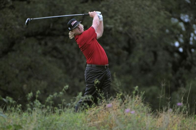 SAN ANTONIO, TX - MAY 15: Charley Hoffman tees off the 2nd hole  during the second round of the Valero Texas Open at the TPC San Antonio on May 15, 2010 in San Antonio, Texas. (Photo by Marc Feldman/Getty Images)
