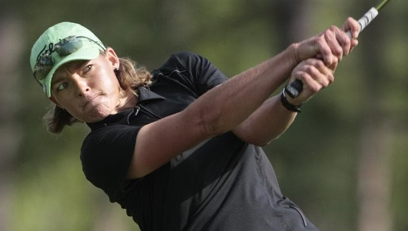 MOBILE, AL - MAY 13: Katherine Hull of Australia watches her drive on the ninth tee during first round play in Bell Micro LPGA Classic at the Magnolia Grove Golf Course on May 13, 2010 in Mobile, Alabama. (Photo by Dave Martin/Getty Images)