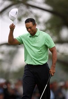 SAN DIEGO - JUNE 13:  Tiger Woods celebrates a birdie putt on the ninth hole during the second round of the 108th U.S. Open at the Torrey Pines Golf Course (South Course) on June 13, 2008 in San Diego, California.  (Photo by Donald Miralle/Getty Images)