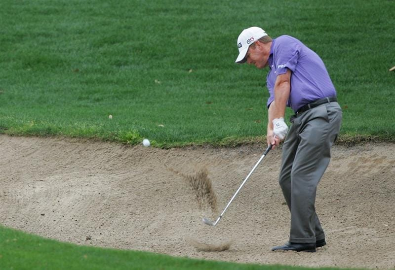 PALM HARBOR, FL - MARCH 21:  Jeff Maggert hits his third shot on the first hole from a bunker during the final round of the Transitions Championship at the Innisbrook Resort and Golf Club on March 21, 2010 in Palm Harbor, Florida.  (Photo by Michael Cohen/Getty Images)