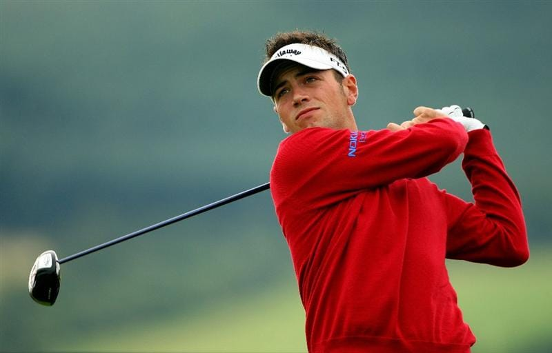 PERTH, UNITED KINGDOM - AUGUST 28:  Nick Dougherty of England hits his tee-shot on the 12th hole during the first round of The Johnnie Walker Championship at Gleneagles on August 28, 2008 at the Gleneagles Hotel and Resort in Perthshire, Scotland.  (Photo by Andrew Redington/Getty Images)