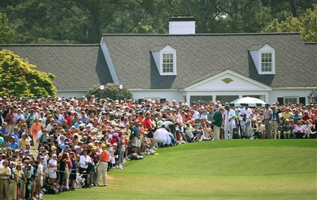 AUGUSTA, GA - APRIL 10:  The group of Tiger Woods, Angel Cabrera and Stuart Appleby wait on the first tee during the first round of the 2008 Masters Tournament at Augusta National Golf Club on April 10, 2008 in Augusta, Georgia.  (Photo by Andrew Redington/Getty Images)