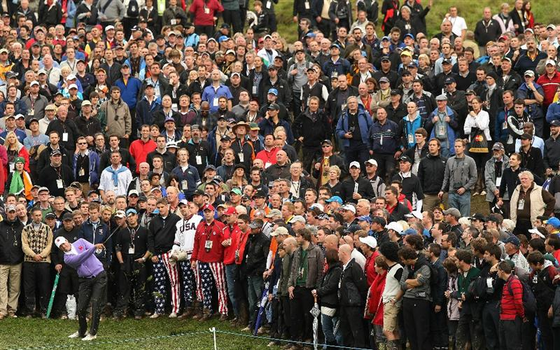 NEWPORT, WALES - OCTOBER 02:  Matt Kuchar of the USA hits a shot from the rough on the 18th hole during the rescheduled Afternoon Foursome Matches during the 2010 Ryder Cup at the Celtic Manor Resort on October 2, 2010 in Newport, Wales.  (Photo by Ross Kinnaird/Getty Images)