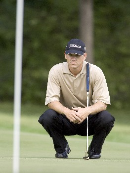 Jason Schultz looks over his putt during the third round of the Rheem Classic at Hardscrabble Country Club in Fort Smith, Arkansas on Saturday May 14, 2005.Photo by Wesley Hitt/WireImage.com