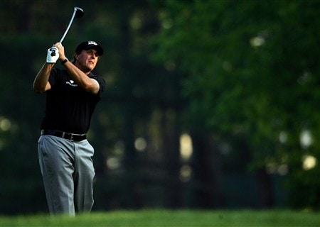 CHARLOTTE, NC - MAY 01:  Phil Mickelson hits on the 10th hole during the first round of the Wachovia Championship at Quail Hollow Country Club on May 1, 2008 in Charlotte, North Carolina.  (Photo by Sam Greenwood/Getty Images)