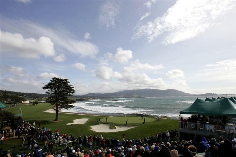 PEBBLE BEACH, CA - FEBRUARY 14: The 18th hole at Pebble Beach Golf Course during the third round of the AT&T Pebble Beach National Pro-Am on February 14, 2009 in Pebble Beach, California. (Photo by Max Morse/Getty Images for Kodak)