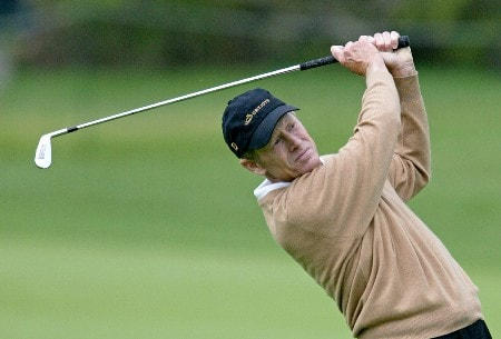 Mike Reid hits his second shot on the 6th hole during the third round of The 66th Senior PGA Championship at Laurel Valley CC, Ligonier, Pa. , May 28th, 2005Photo by Hunter Martin/WireImage.com