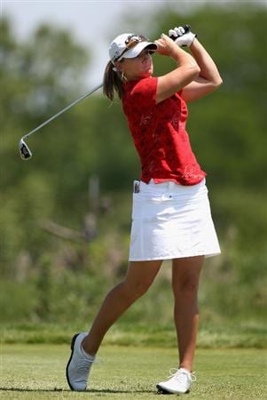 SPRINGFIELD, IL - JUNE 05:  Kristy McPherson hits a tee shot on the fifth hole during the second round of the LPGA State Farm Classic golf tournament at Panther Creek Country Club on June 5, 2009 in Springfield, Illinois.  (Photo by Christian Petersen/Getty Images)