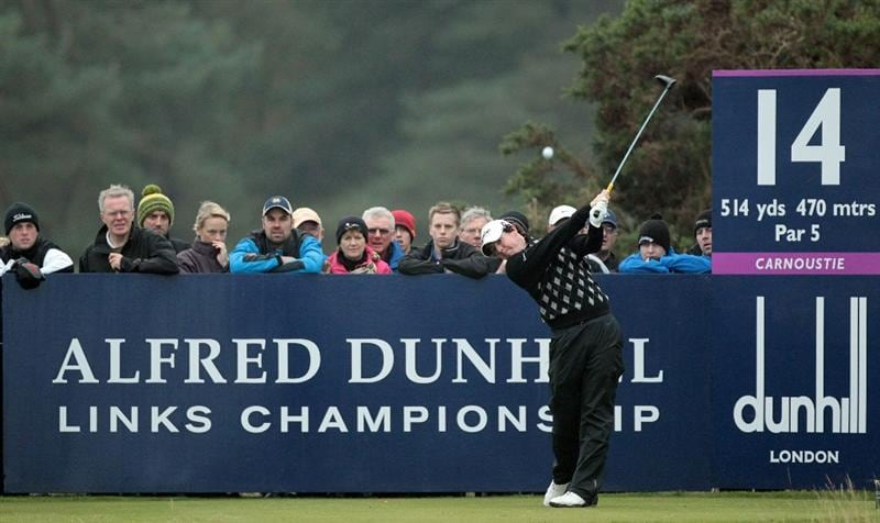 CARNOUSTIE, SCOTLAND - OCTOBER 09:  Rory McIlroy of Northern Ireland drives off the 14th tee during the third round of The Alfred Dunhill Links Championship at the Carnoustie Golf Links on October 9, 2010 in Carnoustie, Scotland.  (Photo by David Cannon/Getty Images)