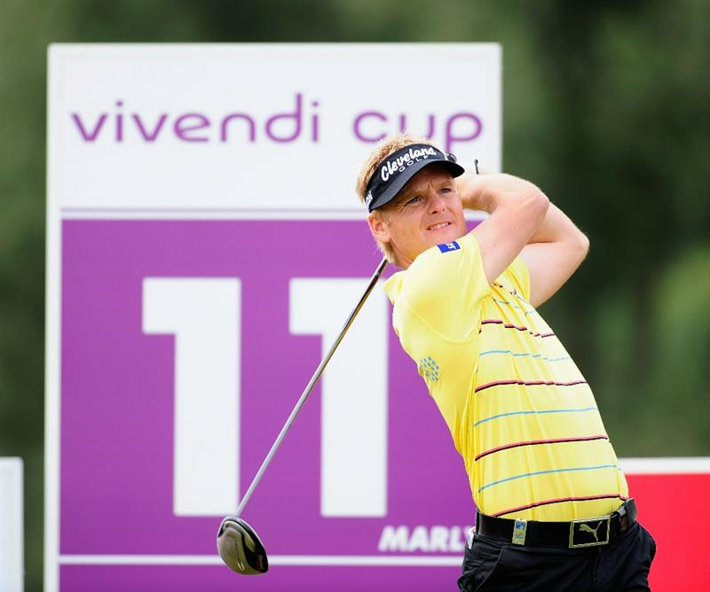 PARIS - SEPTEMBER 23:  Soren Kjeldsen of Denmark plays his tee shot on the 11th hole during the first round of the Vivendi cup at Golf de Joyenval on September 22, 2010 in Chambourcy, near Paris, France.  (Photo by Stuart Franklin/Getty Images)