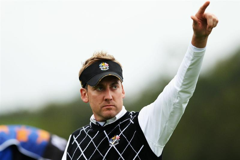 NEWPORT, WALES - OCTOBER 02:  Ian Poulter of Europe walks off the second green during the  Fourball & Foursome Matches during the 2010 Ryder Cup at the Celtic Manor Resort on October 2, 2010 in Newport, Wales.  (Photo by Ross Kinnaird/Getty Images)