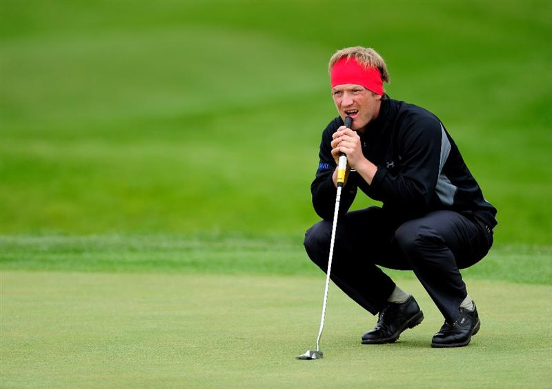 MALLORCA, SPAIN - MAY 14:  Pelle Edberg of Sweden lines up his putt on the nineth hole during the second round of the Open Cala Millor Mallorca at Pula golf club on May 14, 2010 in Mallorca, Spain.  (Photo by Stuart Franklin/Getty Images)
