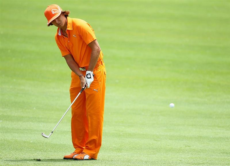 DUBLIN, OH - JUNE 06:  Rickie Fowler hits his second shot on the fourth hole during the final round of The Memorial Tournament presented by Morgan Stanley at Muirfield Village Golf Club on June 6, 2010 in Dublin, Ohio.  (Photo by Andy Lyons/Getty Images)