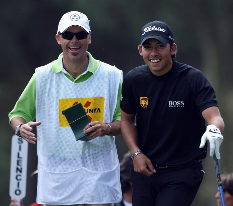 GIRONA, SPAIN - APRIL 30:  Pablo Larrazabal of Spain and his caddie Rod Gutry have a laugh on the ninth tee box during the first round of the Open de Espana at the PGA Golf Catalunya on April 30, 2009 in Girona, Spain.  (Photo by Warren Little/Getty Images)
